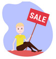 man holding sale board special offer discount vector image vector image