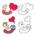 Man with heart and a man with a smoking pipe vector image