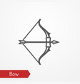 medieval bow with arrow silhouette icon vector image vector image