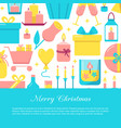 merry christmas celebration concept banner in flat vector image vector image