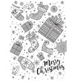 merry christmas coloring page in boho style vector image vector image