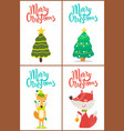 merry christmas trees and fox vector image vector image