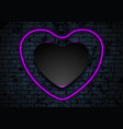 neon purple heart on dark brick wall background vector image vector image