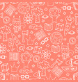 peach seamless pattern with white doodles koalas vector image
