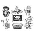 pirates set sketch vector image vector image