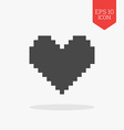 Pixel heart icon Flat design gray color symbol vector image vector image