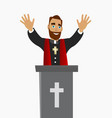 priest blessing peoples in a church in worship vector image vector image
