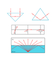 Refraction and reflection of light at the vector image vector image