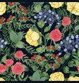 romantic natural seamless pattern with garden vector image