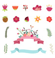 set happy easter and spring design elements vector image