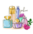 Set of perfume bottles vector image vector image