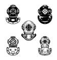set of vintage diver helmets design element for vector image vector image
