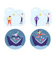 set scared businesspeople stand on jaws huge vector image vector image