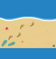 summer border with copy space flip flops and foot vector image vector image