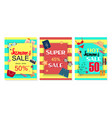 summer sale banner with glasses clothing special vector image vector image