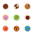 sweet sprinkles icons set cartoon style vector image