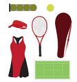 Tennis equipment set vector image vector image