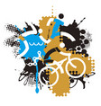 three triathlon racers outdoor fitness vector image vector image