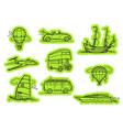 transport stickers stickers set isolated on white vector image