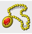 Vintage jewelry with yellow beads and red pendant vector image vector image