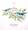 watercolor painting wild bird at nature vector image vector image