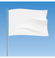 White flag waving on a blue sky background vector image vector image