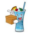 with box blue hawaii character cartoon vector image vector image