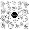 cartoon fruits characters set color book vector image