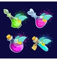 Set of Cartoon Bottles potion with wings vector image