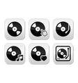 Vinyl record dj buttons set vector image