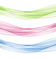 abstract bluepink and green waves set vector image vector image