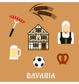 Bavaria travel and objects flat icons vector image vector image