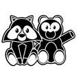 bear and raccoon cartoon design vector image vector image