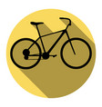 bicycle bike sign flat black icon with vector image vector image