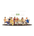 big family dinner around table with food many vector image
