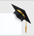 black degree ceremony hat with white banner 3d vector image vector image
