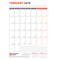calendar template for february 2019 business vector image