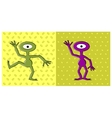 cartoon funny one eyed alien dancing vector image
