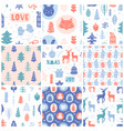 christmas doodles seamless pattern set vector image vector image
