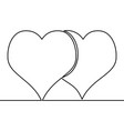 continuous line drawing two hearts love concept vector image vector image