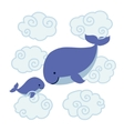 Cute cartoon whales - mother and baby in clouds vector image vector image