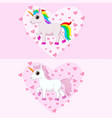 cute pink and white unicorns with various colors m vector image vector image
