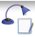 desk lamp and pen vector image