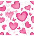 doodle hearts different shape pattern love vector image vector image