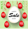 easter sale banner hanging 3d easter eggs vector image