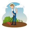 farmer working in the garden vector image