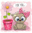 greeting card bear girl with flower vector image vector image