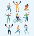 group people practicing sports set humans vector image