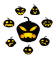 halloween dark pumpkin face background vector image