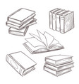 hand drawn vintage books sketch book piles vector image